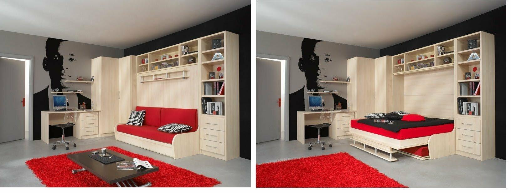 Шкаф диван-кровать в стенке-горке для гостиной