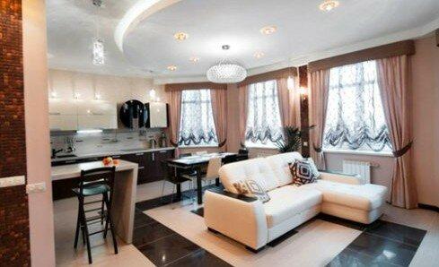 Гостиная зона. объединенная с кухней 30 квадратов дизайн фото