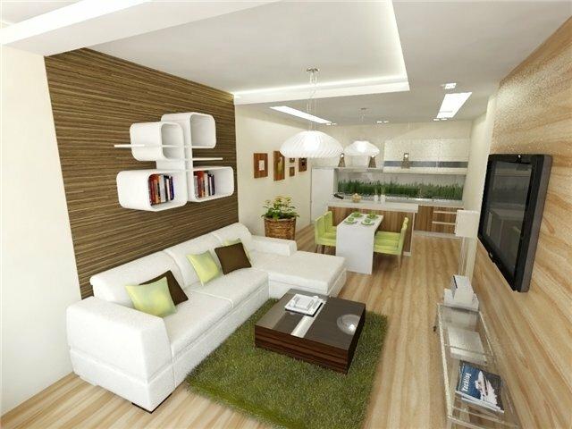 Совмещенная гостиная с кухней общей площадью 20 кв м