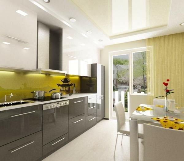 Современная кухня с гостиной