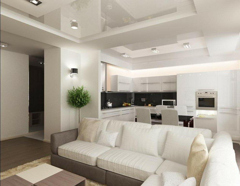 современный дизайн кухни с гостиной на фото 30 кв м