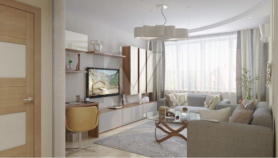 Светлая гостиная площадью 20 кв м