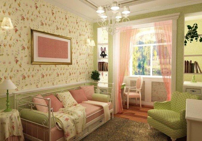 Цветочная тематика в гостиной Прованс