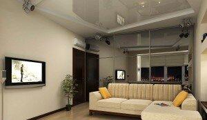 Визуализация дизайна гостиной 18 кв м