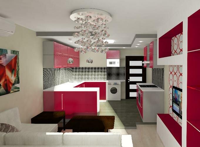 Яркая кухня гостиная 20 кв м