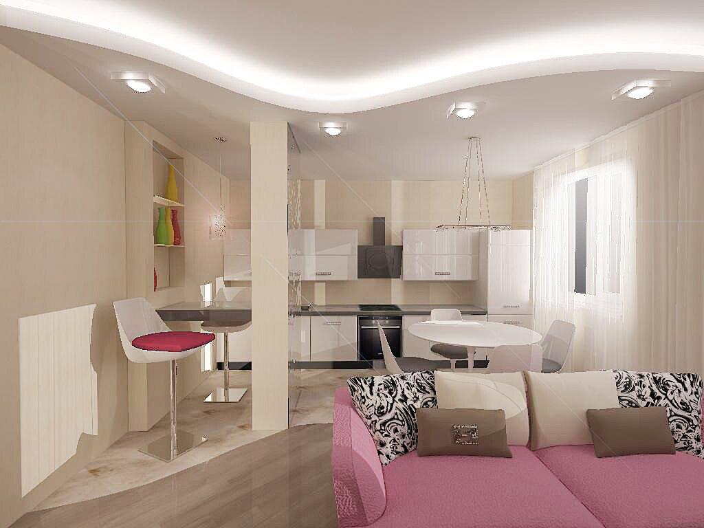 Яркие акценты в интерьере кухни-гостиной 20 кв м