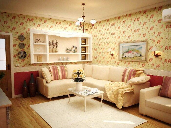 Живопись и декоративная керамика в интерьере гостиной в стиле прованс