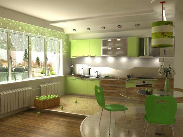 Зеленая кухня-гостиная 20 квадратов