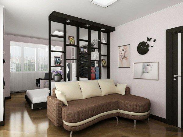 Зонирование гостиной и спальни перегородками