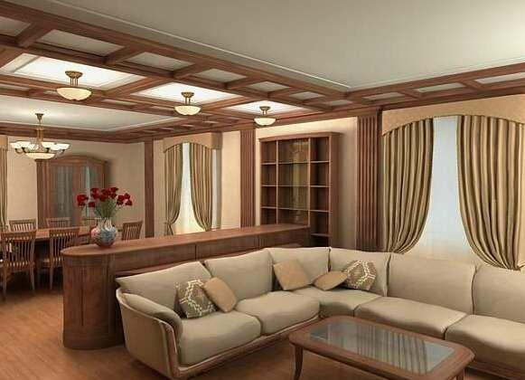 Зонирование гостиной и столовой