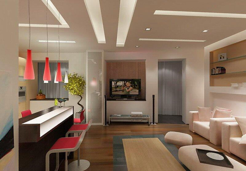 Зонирование кухни-гостиной 20 кв м барной стойкой
