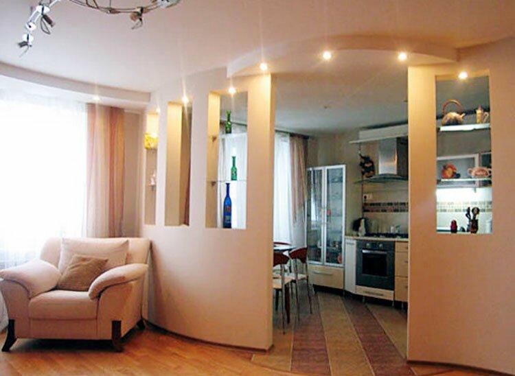 Зонирование кухни-гостиной 20 кв м перегородками