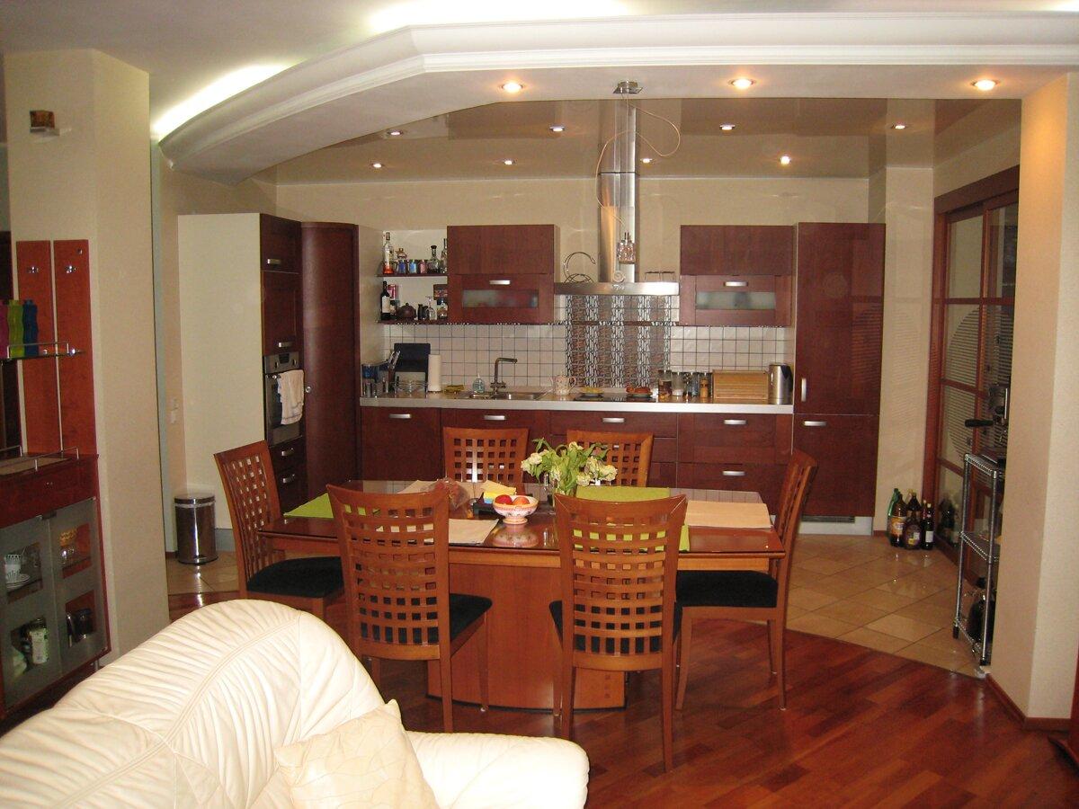 Зонирование мебелью кухни и гостиной 20 кв м