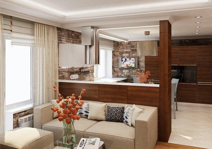 Зонирование на кухню и гостиную 20 квадратов
