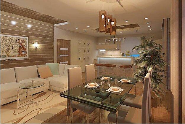Зоны кухни и гостиной на 30 квадратах дизайн фото
