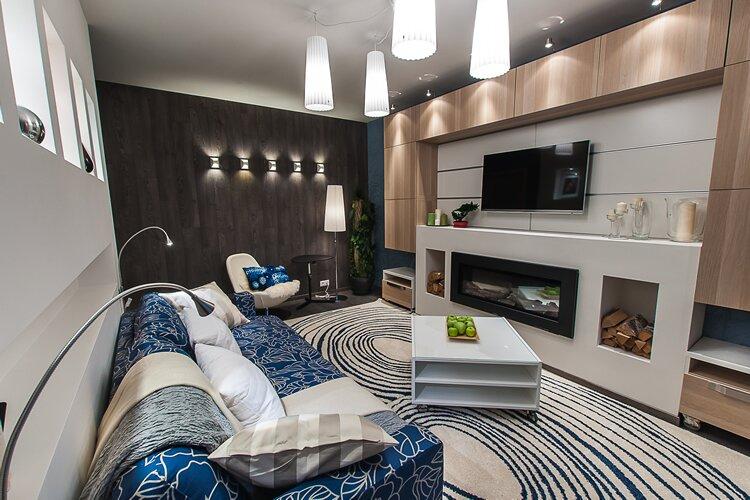 Дизайн гостиной с нишей в стене