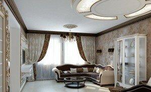 Классицизм в дизайне гостиной 18 кв м