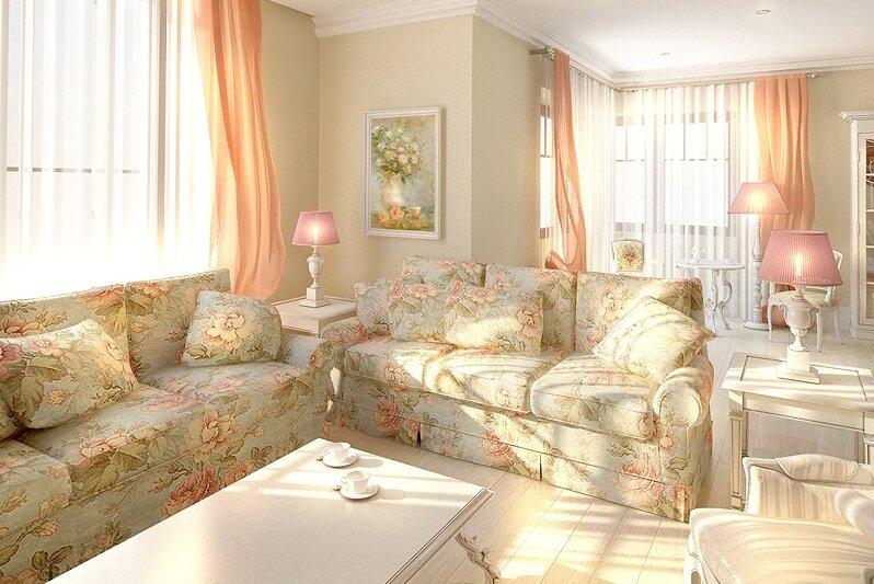 Красивые торшеры в гостиной прованс