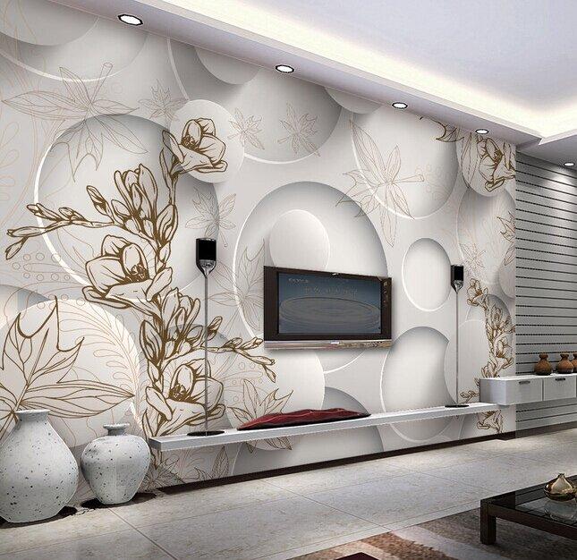 3D нефрита орхидеи и кленовый лист фрески для гостиной
