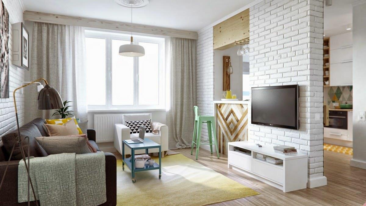 Белый кирпичные стены для выделения зоны отдыха