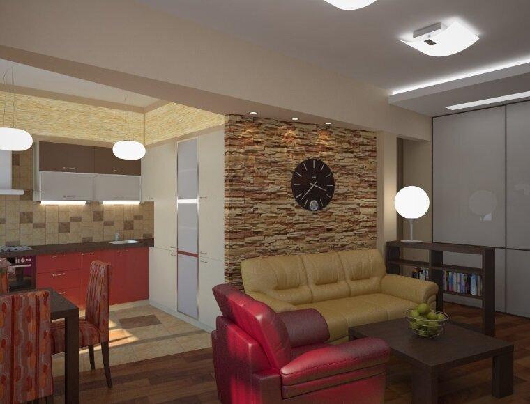 Декоративный камень в оформлении стен гостиной зоны