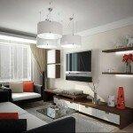 Для гостиной небольших размеров лучше применять более бледные и холодные тона