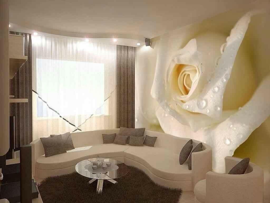 Фотообои розы 3 d в интерьере