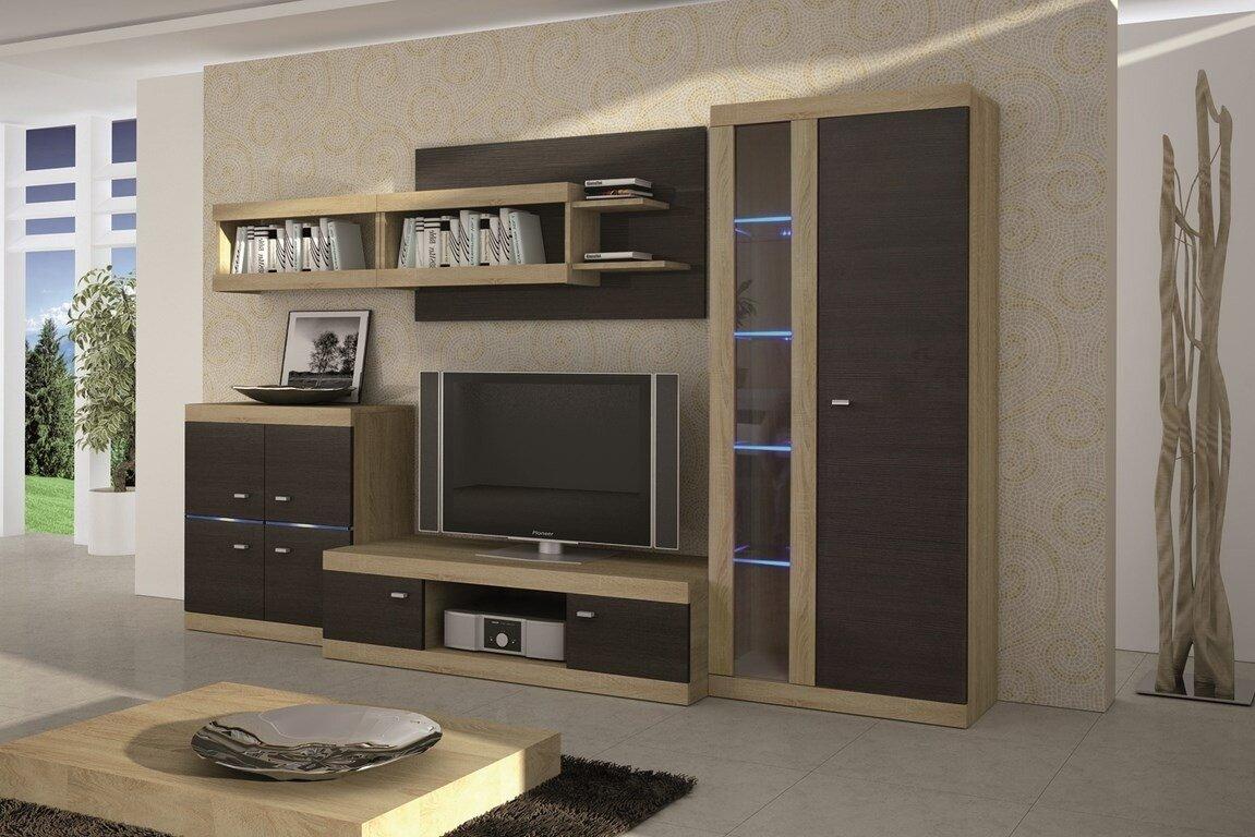 Горка в гостиную коричневого цвета