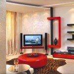 Необычная красная мебель для гостиной