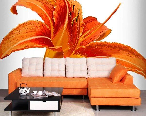 Оранжевое оформление гостиной