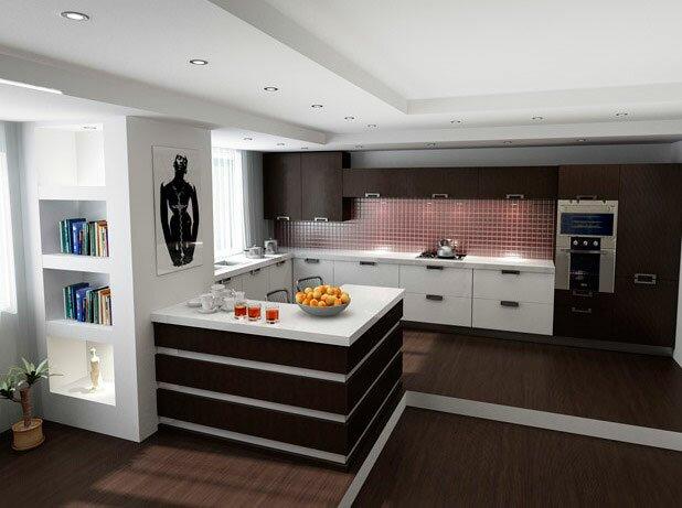 Подиум для кухни с гостиной