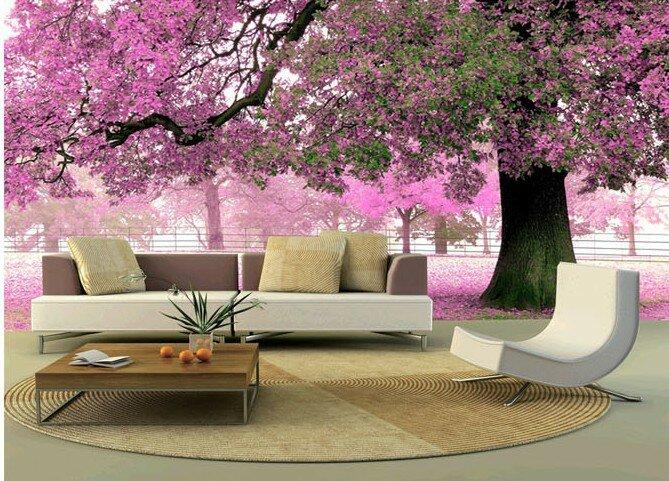 Реалистичное цветущее дерево на 3Д обоях