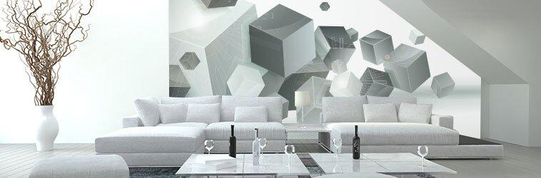 Серо-белая гостиная с 3Д обоями