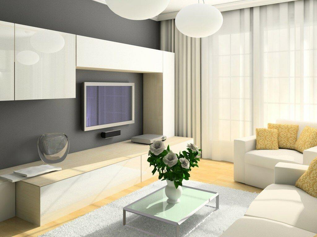 Светлая мебель в гостиную размером 15 кв м