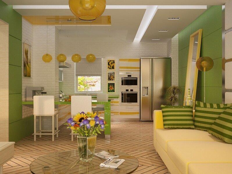 Цветовое решение кухни гостиной