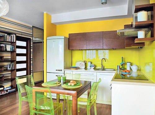 Желтые стены в зоне кухни