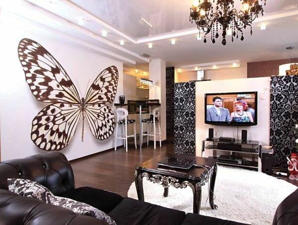 Фотообои в гостиную 3д бабочка
