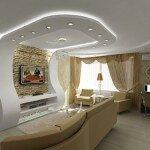 Необычный для гостиной в 15 кв м потолок