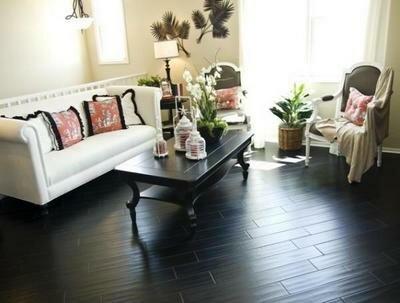 Черный пол для гостиной