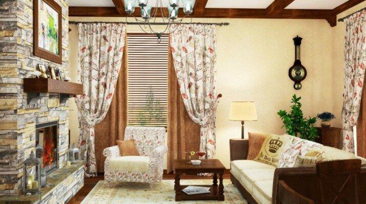 Шторы с цветочными орнаментами для гостиной кантри оформления