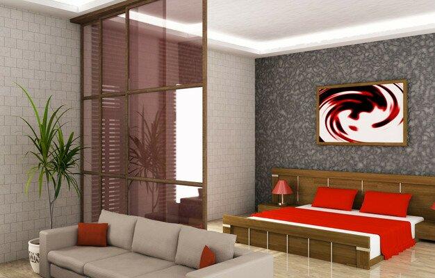 Цветное стекло для создания функциональных зон в гостиной