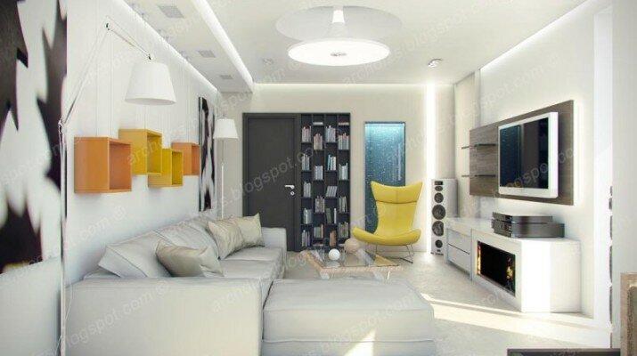Яркие сочные акценты в белой гостиной