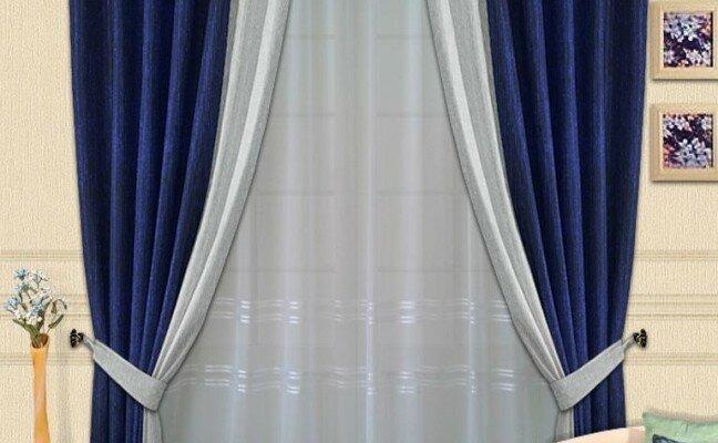 Элегантные шторы с синим оттенком