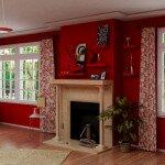 Правила сочетания красных обоев в гостиной